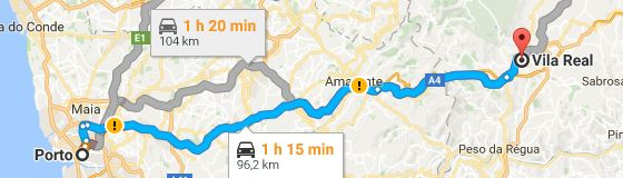 Porto to Vila Real road map