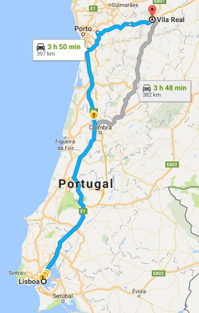 Lisbon to Vila Real road map